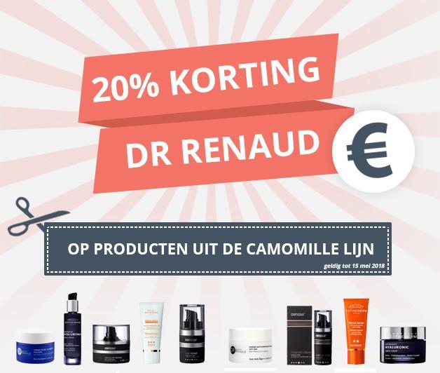 20 procent korting op camomille producten van dr renaud